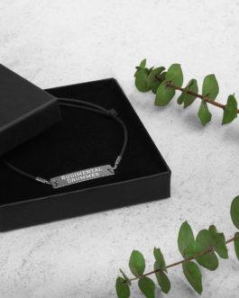 Rudimental Drummer Engraved Silver Bar String Bracelet - Black Rhodium coating