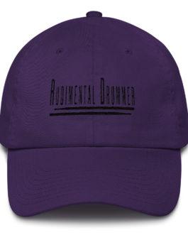 Rudimental Drummer Embroidered on a Cotton Baseball Cap - Purple